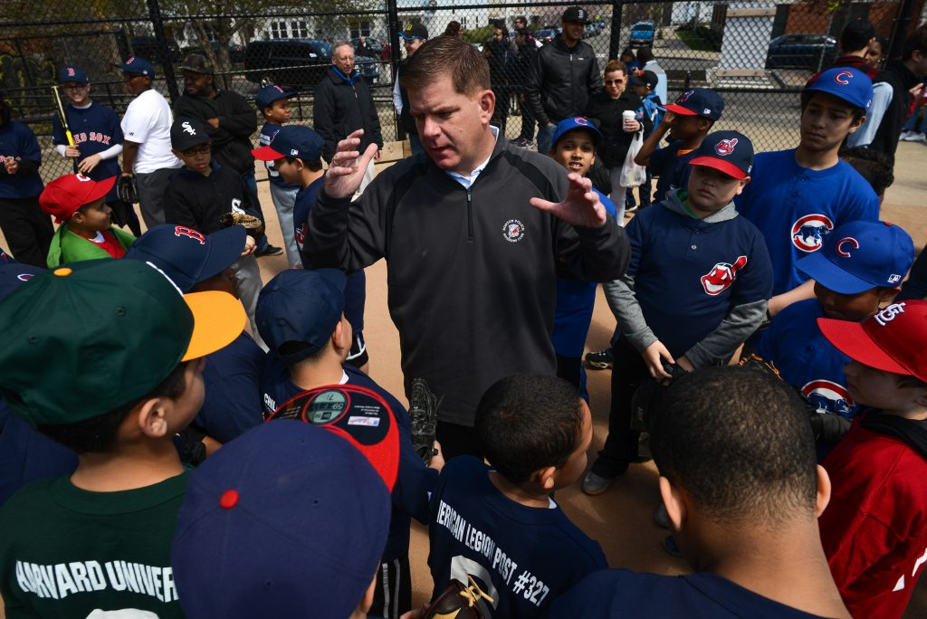 Mayor Walsh with the Mission Hill Little League