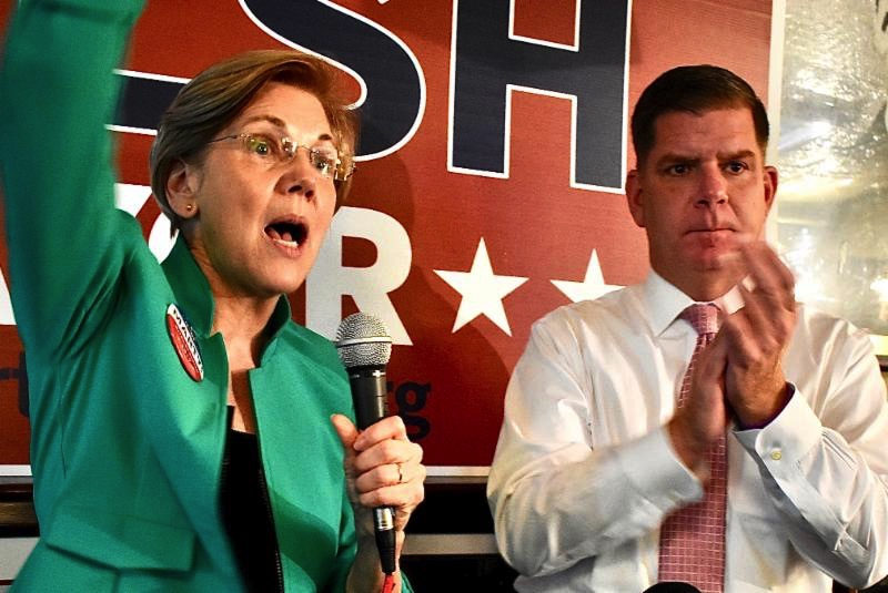 Senator Elizabeth Warren with Mayor Marty Walsh